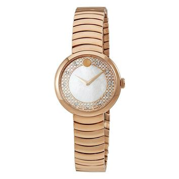 Movado Myla Mother of Pearl Dial Rose Gold PVD Ladies Watch 0607046