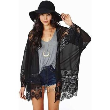 Lace Crochet Chiffon Cardigan - Black