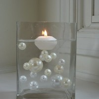 5 PACKS VALUE OFFER - Vase Fillers Jumbo Ivory and White Pearls Unique Elegant Vase Fillers 34Pc. in Each Pack.....The Transparent Water Gels that are floating the Pearls are sold separately.