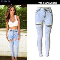 ROSICIL High Waist Jeans Ladies Cotton Denim Pants Stretch Womens Bleach Ripped Jeans Skinny Jeans Denim Jeans Female TOP-002#