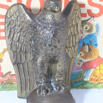 Vintage Standing  Heavy Brass American Eagle Paperweight  Bookend Office Man Cave Decor