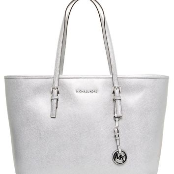 NWT NEW Authentic Michael Kors Jet Set Travel Leather Top Zip Tote Bag ~Silver