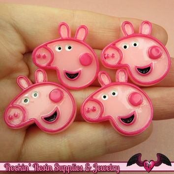4 pc PINK PIG Cartoon Resin Flatback Decoden Kawaii Cabochons 27x28mm
