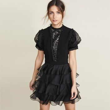 2019 Spring Summer Short Sleeve Crew Neck Pure Color Sequins Organza Black Knee-Length Dress Luxury Runway Party Dresses MAY2621A0521