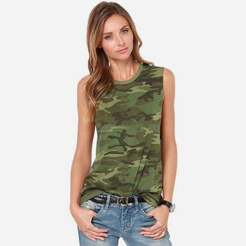 VONE2B5 Women Camouflage Tank Tops 2016 Summer New Arrival Ladies Camo Print Sleeveless T Shirt O-Neck Free Shipping