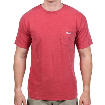 Longshanks Sewn Patch Short Sleeve Pocket Tee in Crimson by Country Club Prep