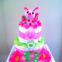 Pink and Green Girl Diaper Cake