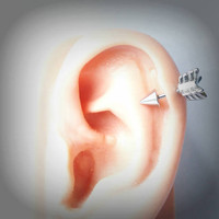 Surgical stainless steel arrow tragus, cartilage, helix earring sizes 6mm, 10mm.....choose a color