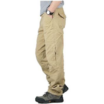 Summer Outdoor Sport Cotton Multi Pocket Overall Long Trousers Men's Tactical Military Training Baggy Cargo Pants Sweatpants