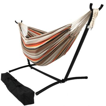 Sunnydaze Decor Beach Sunrise Woven Cotton Hammock with Stand
