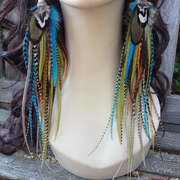 Big Feather Earrings - Bold Prairie Queen - Dangle Earrings Turquoise Olive Grizzly Feather Earings, Boho Hippie Feather Jewlery