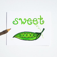 valentines card set (4) Sweet Pea, love stationery birthday anniversary