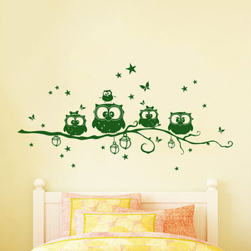 Wall Decals Owl Family Childrens Decor Kids Vinyl Sticker Stars Wall Decal Nursery Baby Room Bedroom Murals Playroom - Owl Decor SV6019