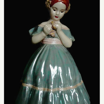 MY BIRTHDAY SALE Vintage, Dated 1953, Ceramic, Hand Made, Hand Painted, Pearlescent, Girl Figurine, Artist signed