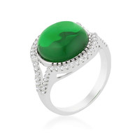 Green Halo Cocktail Ring, size : 07