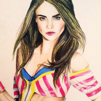 Cara Delevingne Stretched Canvas by NatalieBorg