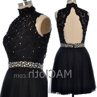 High Neck Black Lace Tulle Short Prom Dress with Open Back