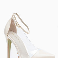 Liliana  Nude Pointed Toe Ankle Strap Vinyl Heels