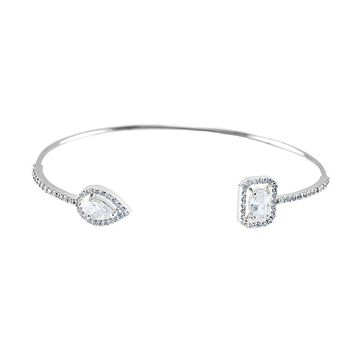 Ashan CZ Halo Delicate Opened Wire SIlver Bracelet