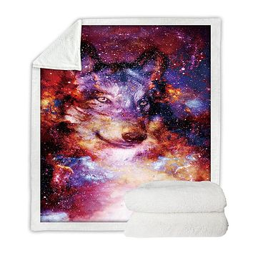 BeddingOutlet Sherpa Black Wolf Art Painting Crystal Velvet Front and Fuzzy Back Throw Blanket