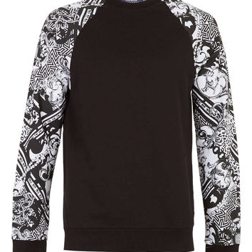 Black/White Baroque Sleeve Raglan Sweatshirt - Mens Hoodies & Sweatshirts - Clothing - TOPMAN USA