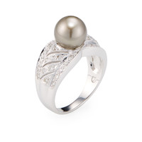 Belpearl Women's Tahitian Pearl & Diamond Wide Band Ring - White - Size 7