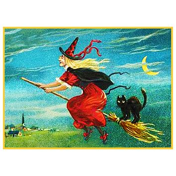 Victorian Halloween Flying Witch, Broom, Black Cat and Moon Counted Cross Stitch Pattern