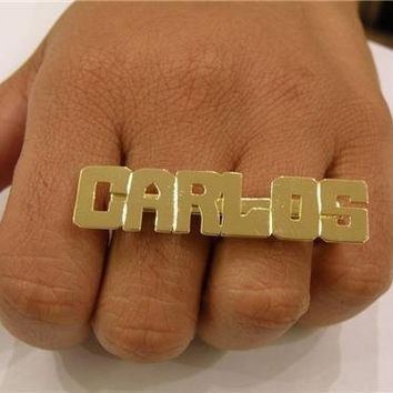 Personalized 14k gold overlay any name 2 finger Rings/two finger name ring/Gift/a2