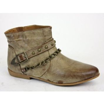 Womens Pixie Vintage Tan Brown Flat Ladies Ankle Boots Size 3 4 5 6 7 8: Amazon.co.uk: Shoes  Accessories