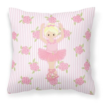 Ballerina Blonde Front Pose Fabric Decorative Pillow BB5164PW1414