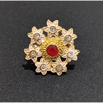 Flower surrounded Matte Meenakari polished adjustable finger ring