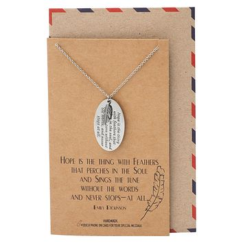 Sunset Feather and Engraved Oval Plate Pendants Necklace, Inspirational Jewelry for Women