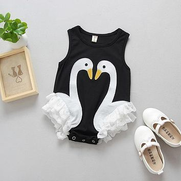 Summer 2017 Casual Baby Kids Clothes Girl Swan Lace Romper Jumpsuit Outfits Clothing