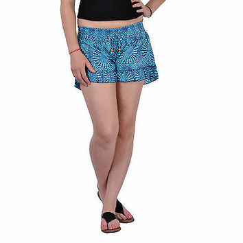 Women Girls Sky Blue Shorts Online Sleepwear Flower Printed Beachwear Cotton