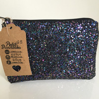 Petrol black sparkly glitter party makeup clutch bag