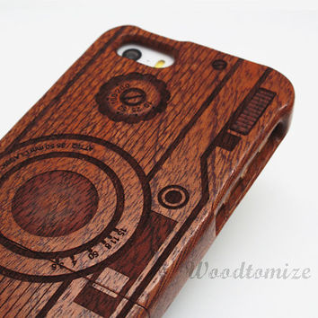 Natural Wood Engraved Camera iPhone 5C case, iPhone 5S 5 case, Wood cover, Bamboo, Cherry, Sapele, Laser Engraving, FREE screen protector