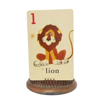 "Vintage Vocabulary Flashcard, Alphabet Picture Flash Card, Lion Illustration, Letter ""L"" Decor, ABC, Collage Scrapbook Ephemera, Single Swap"