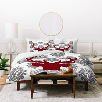 Natt Deer Damask White Duvet Cover