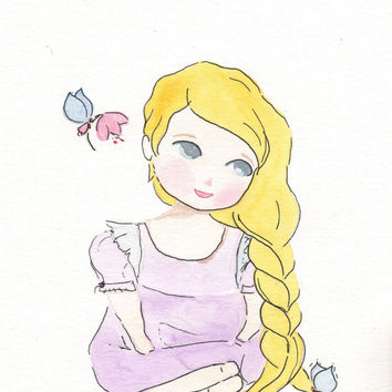 Original watercolor Painting - Blond Girl's Hair Braided by the fairies - Whimsical Nursery Children Baby Art Room Deco