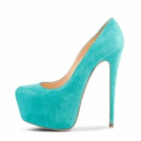 POSH GIRL Lacey Suede Platform Pumps Turquoise