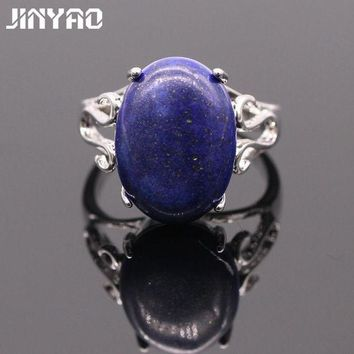 ONETOW JINYAO Vintage Lapis Lazuli Simple White Gold Color Oval Lapis Lazuli Ring For Women Bridal Fashion Jewelry