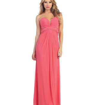 Coral Jersey & Lace Strapless Sweetheart Gown 2015 Prom Dresses