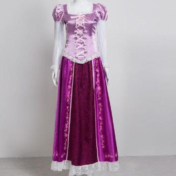 VONE05O purple princess rapunzel dress cosplay adult costume for girls kids children tangled kid halloween costumes for women plus size