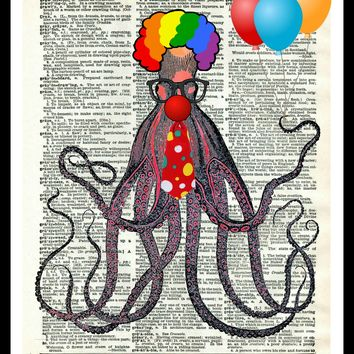 """Printed Vintage Octopus """"Octo Clown""""Art Print Poster 8 x 10 or 11 x 14"""" Unframed"""