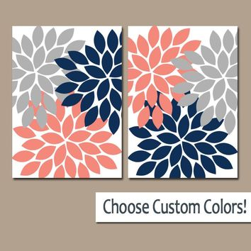 Flower Wall Art, Navy Coral Gray, Flower Bedroom Art, Nursery Decor, Canvas or Prints, Bathroom Decor, Flower Burst Petals, Set of 2