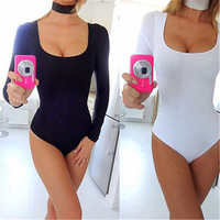 Women Ladies Sexy Long Sleeve Shirt Jumpsuit Bodysuit Stretch Leotard Top  Woman Bodysuits Nylon Polyester