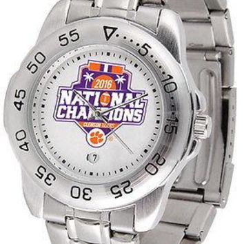 Clemson Tigers 2016 Championship Sport Watch Steel Band Ladies or Mens