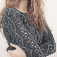 Dim Grey Crop Open Knit Sweater