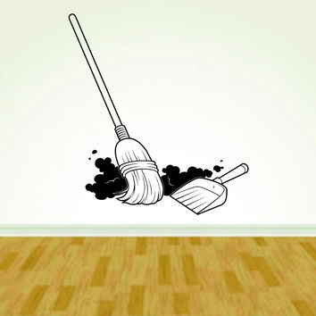 Janitor Maid Supplies Broom Dustpan Decal Sticker Wall Boy Girl