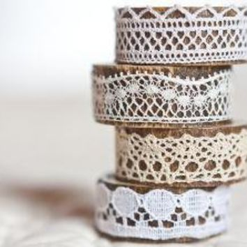 Napkin Rings Organic Bamboo Vintage French Lace by frenchfelt